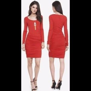 Express Engine Red Long Sleeve Ruched Dress S
